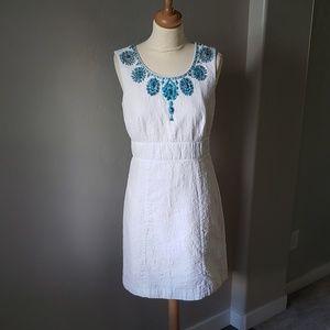 Antonio Melani 6 white dress w/ turquoise beading